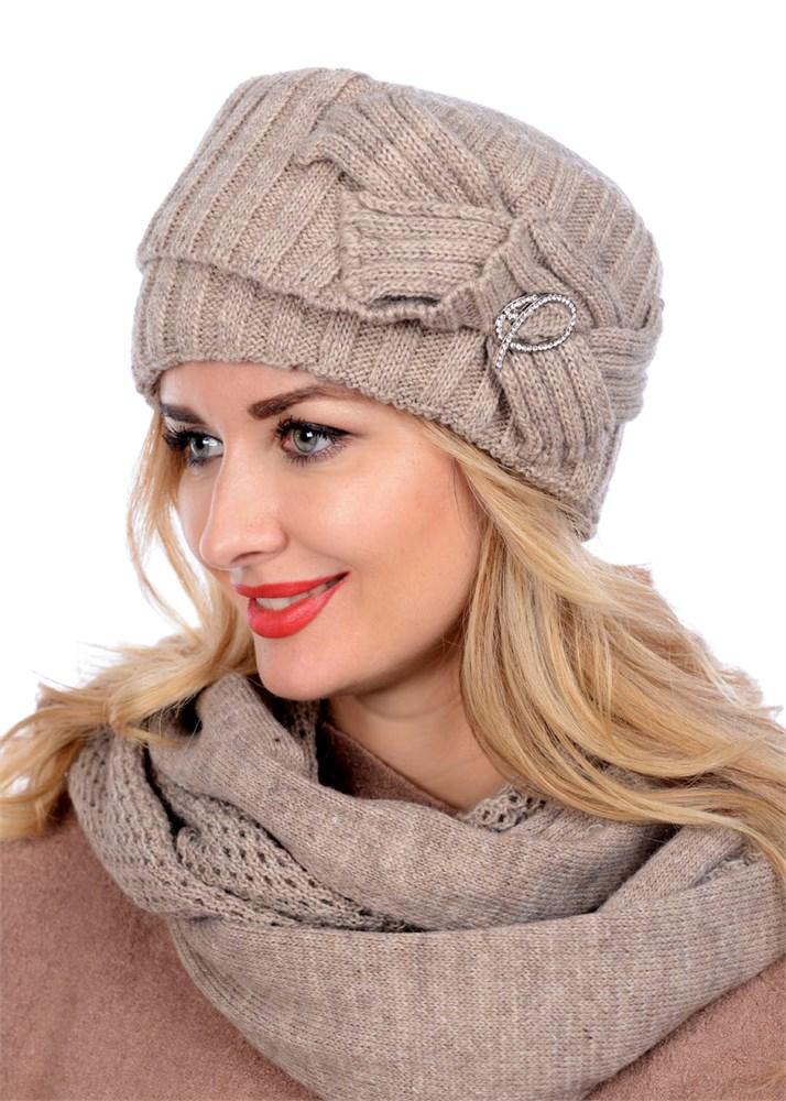 купить вязаную шапку кубанку тд 405 светло бежевая