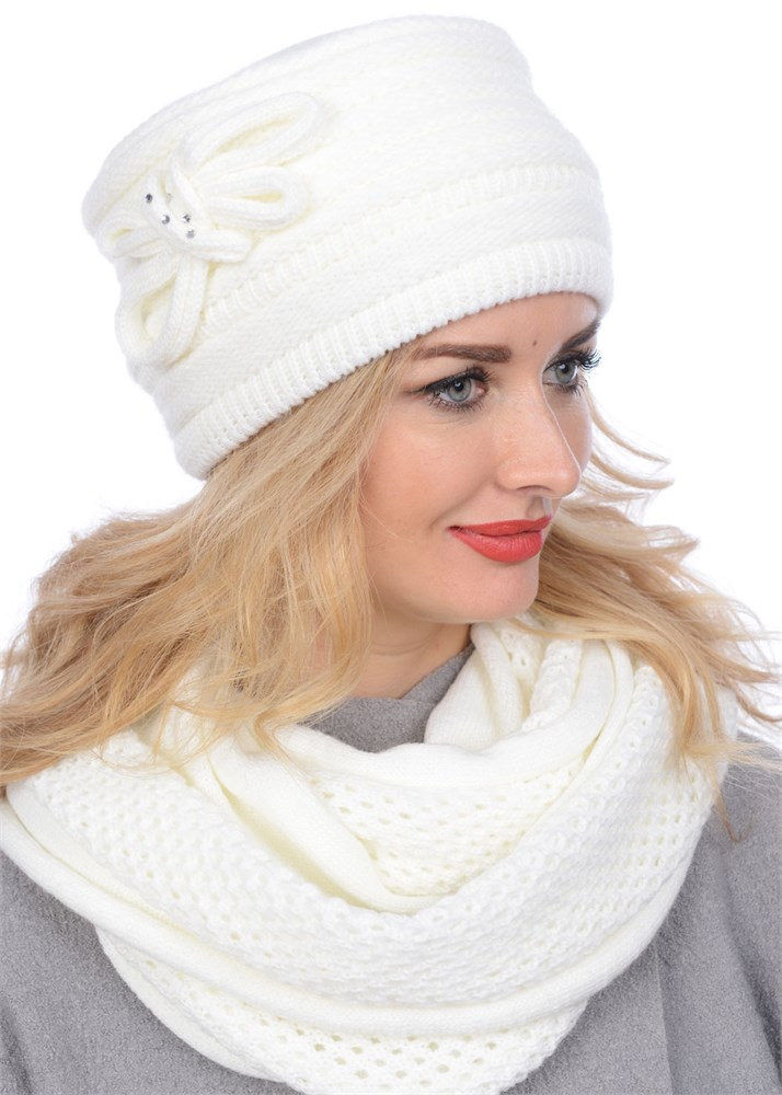 купить вязаную шапку кубанку тд 406 молочную