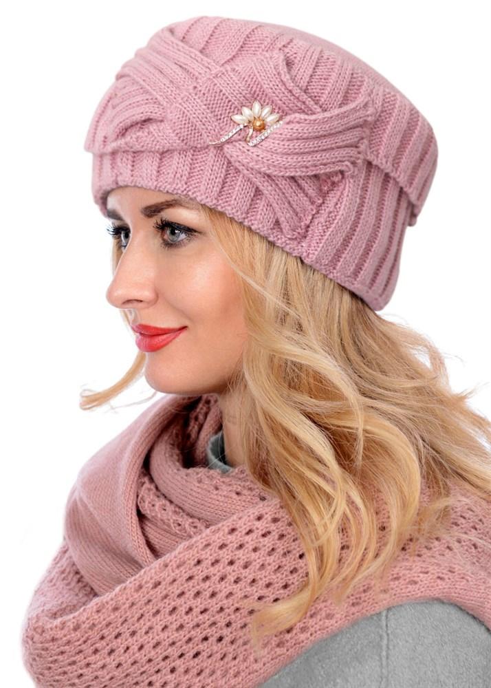 купить вязаную шапку кубанку тд 405 розовую