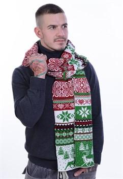 Шарф ТД-433А ярко-зеленый-молочный-красный - фото 10830