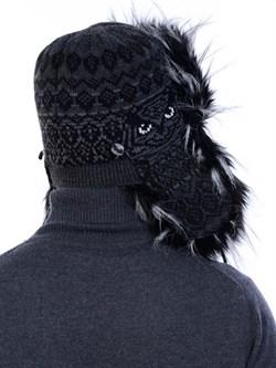 Ушанка З-303 черная-серая мех черно-белый - фото 10903