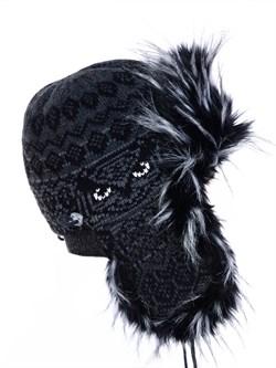 Ушанка З-303 черная-серая мех черно-белый - фото 10904