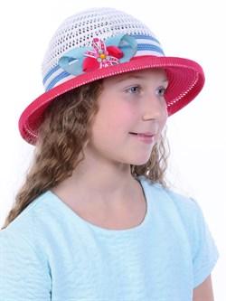 Детская летняя шляпка Дети/ТЛ-43 малиновый-белый-голубой - фото 11524