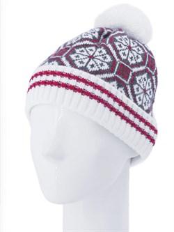 Вязаная шапка ТД-384 белый-красный-серый - фото 12222