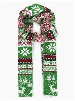 Шарф ТД-433А ярко-зеленый-молочный-красный - фото 12358