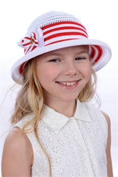 Шляпка детская летняя Дети/Л34 белый-красный
