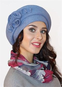 Берет женский Д-490/1 голубой от Сиринга-стиль