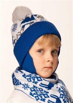 Новогодняя шапочка детская Дети-42 синяя Сиринга-стиль