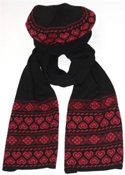 Комплект из берета и шарфа ТД-310К черный-коралл Сиринга-стиль   2