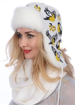 Ушанка женская З-287-2 белая-желтая Сиринга-стиль
