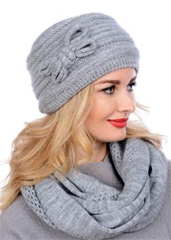 Вязаная шапка-кубанка ТД-406 серый меланж Сиринга-стиль