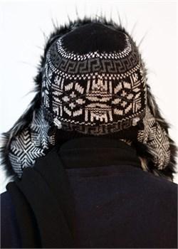 Ушанка мужская З-281-7 черно-белая Сиринга-стиль  3