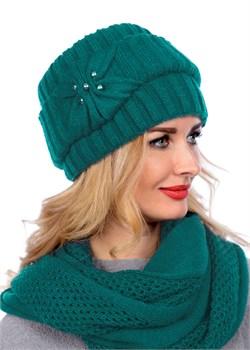 Вязаная шапка-кубанка ТД-404 морская волна Сиринга-стиль