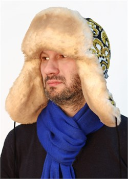 "Ушанка мужская З-281-12 ""Хохлома"" бежевая Сиринга-стиль"