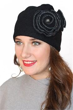 Женская шапка Д-294 черная Сиринга-стиль