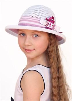 Детская летняя шляпка Дети/Л32/1 белый-орхидея Сиринга-стиль