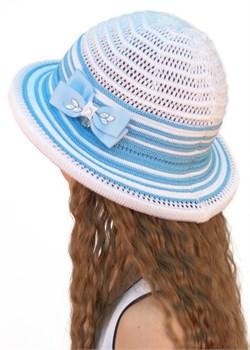 Шляпка детская летняя Дети/ТЛ37 белый-голубой Сиринга-стиль  2