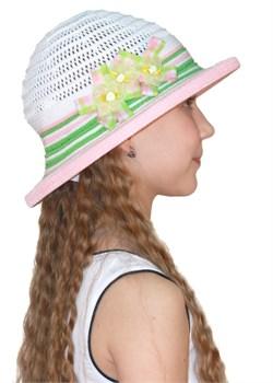 Шляпка детская летняя Дети/ТЛ-38 белый-зеленый-розовый Сиринга-стиль