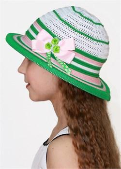 Шляпка детская летняя Дети/ТЛ-39 белый-зеленый-розовый Сиринга-стиль  2