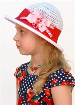 Шляпка детская летняя Дети/ТЛ-41/1 белый-красный Сиринга-стиль
