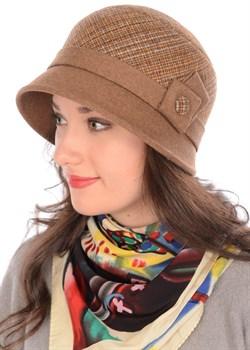 Шляпа Д-562/1А бежево-коричневая/светло-коричневая - фото 7943