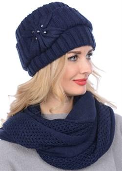 Вязаная шапка-кубанка ТД-404 темно-синяя - фото 7967