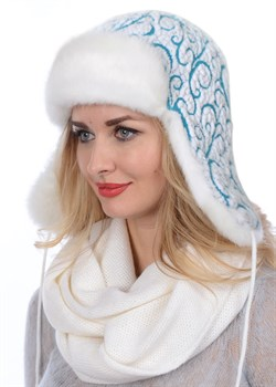 Женская ушанка З-287/6 белый-бирюза - фото 8113