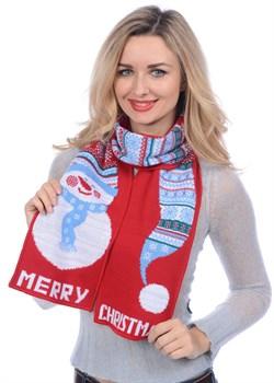 Новогодний шарф ТД-286А красный-голубой - фото 8270