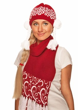 Новогодний шарф ТД-228А красный - фото 8274