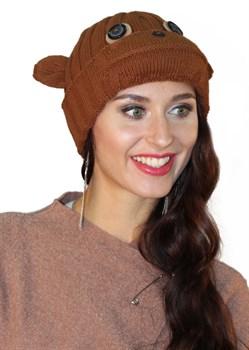 Вязаная шапка ТД-397 рыжая - фото 8333