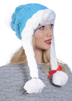 ТД-412 Новогодняя  бирюзовая шапочка - фото 8338