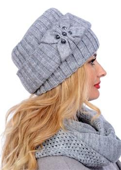 Вязаная шапка-кубанка ТД-404 серый меланж Сиринга-стиль  2