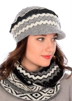 Вязаная кепка ТД-417 черно-серая/молочная - фото 8695