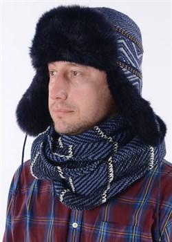 Мужская ушанка З-286/2 синяя - фото 9043