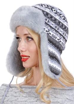 Женская ушанка З-281/5 серый-голубой - фото 9052