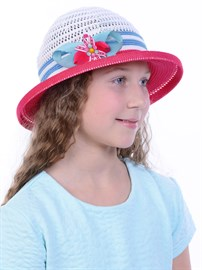 Детская летняя шляпка Дети/ТЛ-43 малиновый-белый-голубой