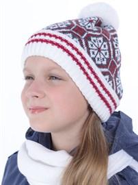 Вязаная шапка ТД-384 белый-красный-серый