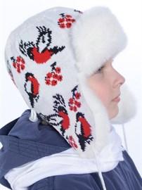 Детская ушанка З-288/1 белая-красная