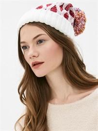 Вязаная шапка ТД-337 белый-красный