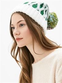 Вязаная шапка ТД-337 белый-зеленый