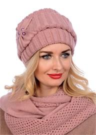 Вязаная шапка-кубанка ТД-404 бледно-розовая Сиринга-стиль