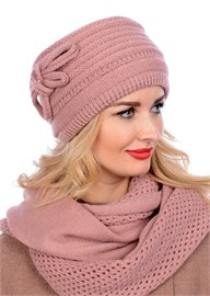 Вязаная шапка-кубанка ТД-406 бледно-розовая Сиринга-стиль