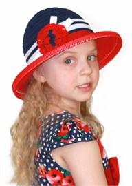 Шляпка детская летняя Дети/Л33 красный-синий-белый Сиринга-стиль