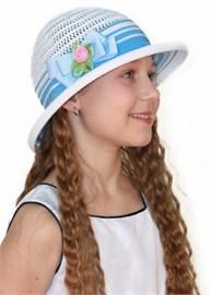 Шляпка детская летняя Дети/ТЛ-37/1 белый-голубой Сиринга-стиль