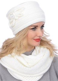 Вязаная шапка-кубанка ТД-406 молочный Сиринга-стиль