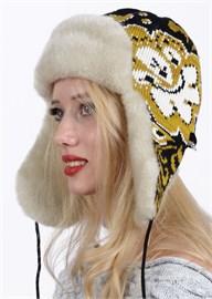 "Ушанка женская З-281-12 ""Хохлома"" желто-бежевая Сиринга-стиль"