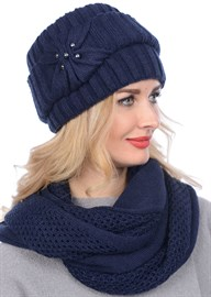 Вязаная шапка-кубанка ТД-404 темно-синяя