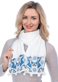 Новогодний шарф ТД-284А белый-голубой
