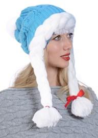 ТД-412 Новогодняя  бирюзовая шапочка