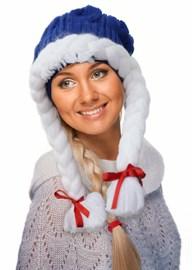 ТД-412 Новогодняя  синяя шапочка